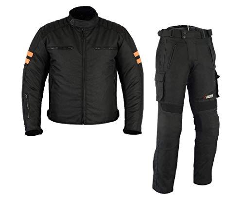 MOTORRADKOMBI JACKE + HOSE - AUS TEXTIL/CORDURA für Motorrad Biker Chopper Cross (S)