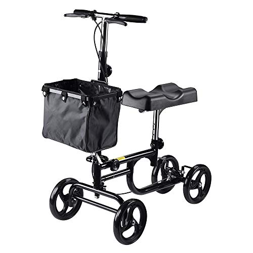 AW Heavy Duty Adjustable Knee Rehab Scooter Walker Short Cruiser with Basket Steerable Rolling Wheel Weight Capacity 295 lbs