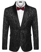 COOFANDY Mens Floral Tuxedo Jacket Paisley Shawl Lapel Suit Blazer Jacket for Dinner,Prom,Wedding Black