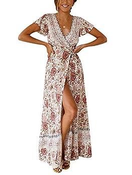 TEMOFON Women s Wrap Dresses Bohemian Floral Printed Summer Casual Short Sleeve V-Neck High Split Maxi Dress Beige S
