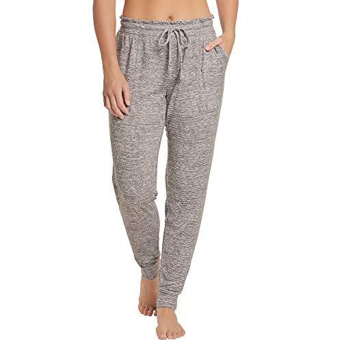 Women's Jogger Lounge Sleep Pajama Pants, Super Soft, Machine-Washable, Patch Front Pockets, Grey Stripe