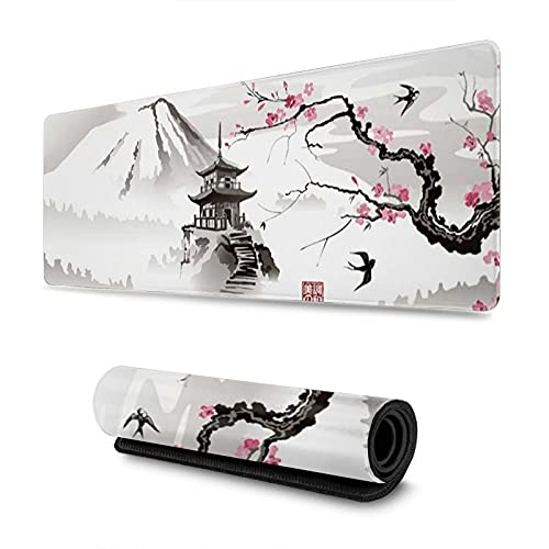 Gaming Mouse Pad Pink Japanese Pagoda and Cherry Blossom Sakura Branch XXL XL Large Mouse Pad Mat Long Extended Mousepad Desk Pad Non-Slip Rubber Mice Pads Stitched Edges (31.5x11.8x0.12 Inch)