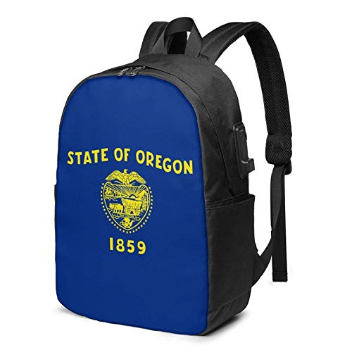 Lawenp America USA Oregon State Flag Laptop Backpack with USB Charging Port, Business Bag, Bookbag | Fits Most 17 Inch Laptops and Tablets