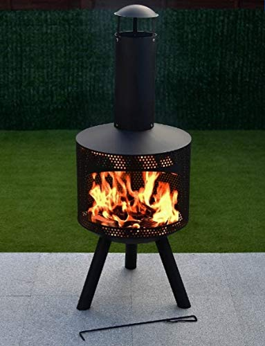 Al Fresco Miami Mesh Contemporary Chimenea, Tall Log Burner (Large Garden Patio Heater, Fire Pit Wood Stove BBQ Chiminea)