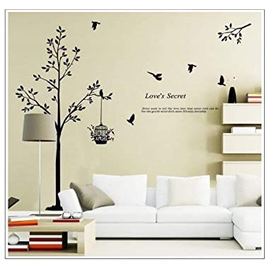 Cukudy Tall Black Tree with Birds and Birdcage Love's Secret Quote Wall Decal Sticker Decor