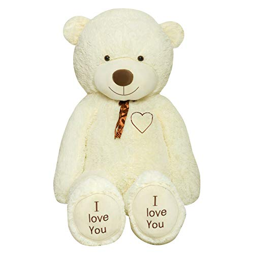 TEDBI Teddybär 200cm   Farbe Creme   Groß Teddy Bear Plüschbär Stofftier Kuscheltier Plüschtier XXL Teddi Bär mit Stickerei I Love You Ich Liebe Dich