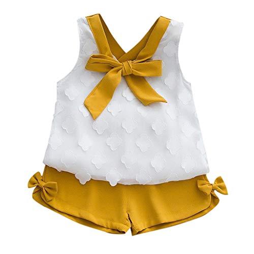 2019 Ropa Niña Verano 2 a 3 4 5 6 7 años | Arco Camisa de Gasa con Cuello en v + Pantalon Cortos | 2PC/Conjunto Oferta | para Fiesta | Moderna | Marca Fossen