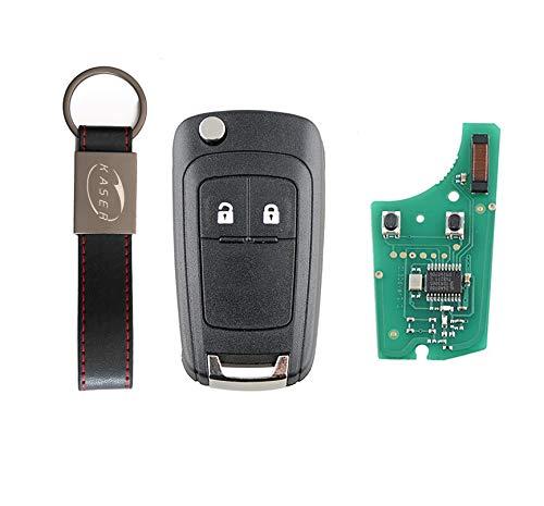 Chiave Telecomando con Scheda Elettronica 2 Tasti per Opel Astra Corsa C Meriva Tigra Combo (433MHZ ID46) Transponder con Portachiavi KASER