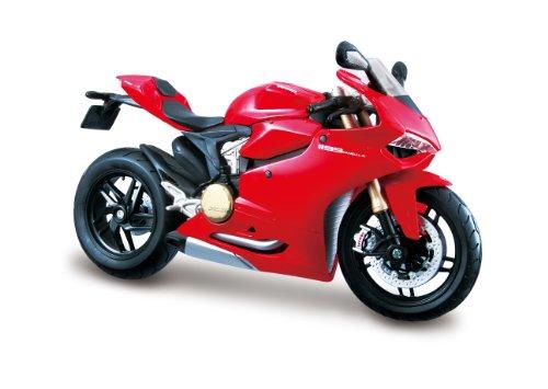Maisto Ducati 1199 Panigale: Originalgetreues Motorradmodell im Maßstab 1:12, mit Federung und Seitenständer, spezielles Ducati-Rot (5-11108)