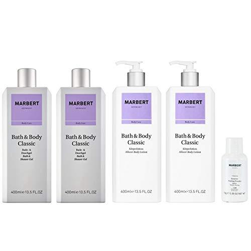 Marbert Bath & Body Classic Körperlotion 2 x 400 ml + Duschgel 2 x 400 ml + Enzyme Peeling Puder 10 g Gratis
