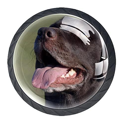 Happy Black Labrador Love Dog - Manijas de cristal para armario, 4 unidades, 35 mm
