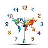 xinxin Relojes de Pared Mapa del Mundo Acuarela Decorativa Reloj de Pared silencioso Tierra Plana Impresión Minimalista Arte Digital Reloj de Pared Colgante Regalo para Viajero