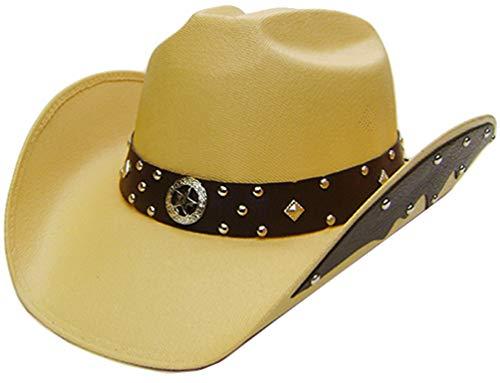 Modestone Unisex Chapeaux Cowboy Side Brim Leather Look Appliques Tan