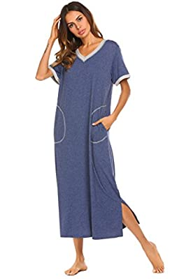 Ekouaer Women's Nightgown Caftan Petite Sleepwear Lounge Dress (Navy, Small)