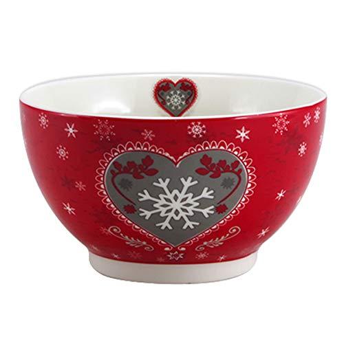 Les Trésors De Lily [A1138 - Bol Porcelaine 'Chalet' Rouge Taupe (Flocon d'amour) - 13x7 cm (48 cl)