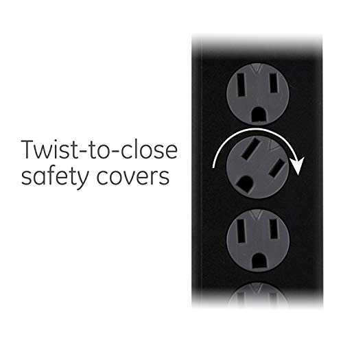 GE Outlet Surge Protector, 6 Ft Extension Cord, Power Strip, 800 Joules, Twist-to-Close Safety Covers, Black, 33661