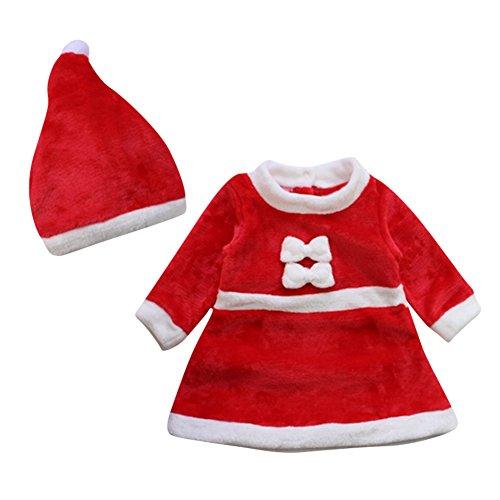 Le SSara Bebé Invierno Navidad Cosplay Vestido Traje recién Traje Sombrero 2pcs (12-18 Meses)