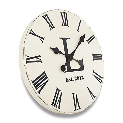Loberon Uhr Luis, MDF, H/Ø 3/40 cm, weiß/schwarz