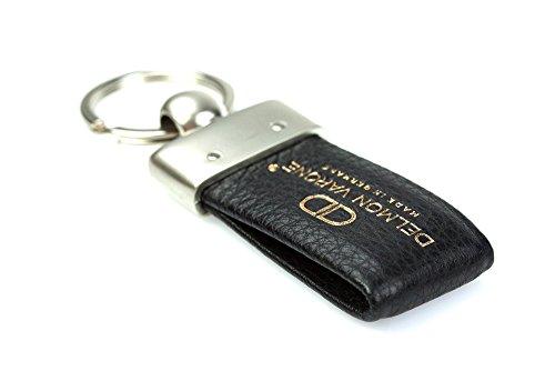 DELMON VARONE - Personalisierbarer Schlüsselanhänger Premium Soft Grain Leder schwarz, Schlüsselband mit individueller Gravur für Frauen & Männer, Echtleder Schlüssel Lederanhänger als Geschenkidee