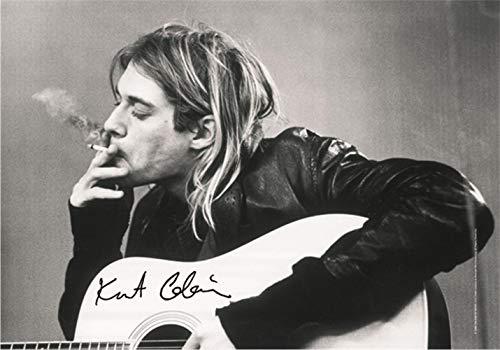 Heart Rock Licensed Bandera Kurt Cobain–B. & W Guitar, Tela, Mul