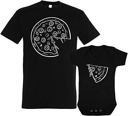 Colour Fashion Pizza et Tranche Papa Père Fils Fille Ensemble Assorti T-Shirt Body Drôle Cadeau - Noir, Men M - Bodysuit 18-24 Months