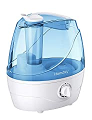 EFFICIENT HUMIDIFIERS FOR BEDROOM: With 2.2L large tank, the cool mist humidifier allows up to 24 hours of working in low mist. 360°degree rotating nozzle ensures an even level of humidity distributed at home. Breathe the forest fresh air in your hom...