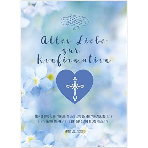 Glückwunschkarte Konfirmation mit Umschlag/Alles Liebe zur Konfirmation/Konfirmationskarten/Karte für Glückwünsche/Feier