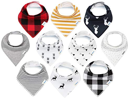 Baby Bandana Drool Bibs for Boys and Girls, Unisex 10 Pack Bib Set with Snaps for Drooling, Teething and Feeding, Soft and Absorbent Bibs by KiddyStar