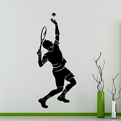 Etiqueta de la pared del tenis Jugador de tenis Silueta deportiva Calcomanía de vinilo Decoración interior Extraíble Gimnasio casero Decoración de la pared Etiqueta mural42x100 cm