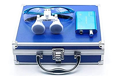 Global-Dental Surgical Binocular Loupes 3.5X420mm with LED Dental Head Light Medical Binocular Loupes Aluminum Box Blue