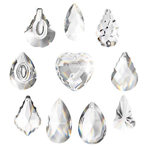 Feng Shui Cristal 10pcs,Prisma Cristal,Lagrimas De Cristal,Gota De Cristal,Paquete Lámparas Cristalpara Ventana y Decoración Hogar