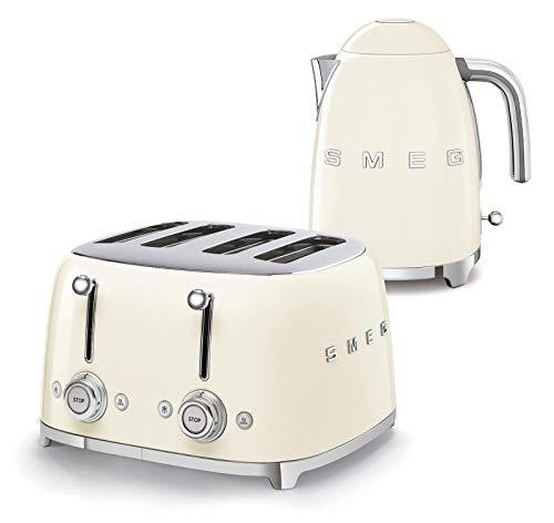 Smeg 50s Retro 4-Slot Toaster TSF03 Bundle with Smeg KLF03 Electric Kettle (Cream)