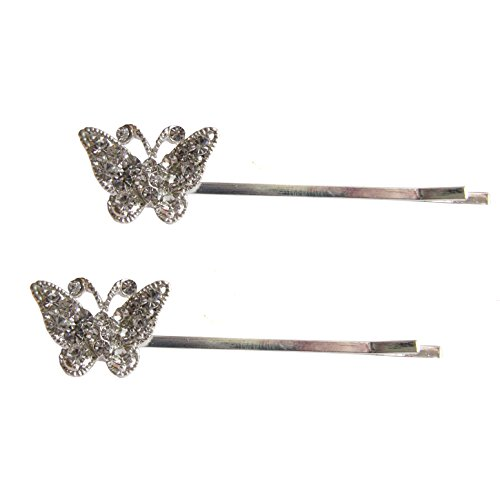 Pair of Silver Crystal Butterfly Bobby Pins / Hair Clips / Kirby Grips by Pick A Gem Hair Accessories