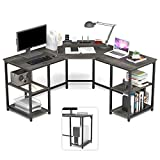 Elephance Large L-Shaped Desk with Shelves, Computer Corner Desk, Home Office Writing Workstation, Gaming Desk PC Laptop Table with Storage (56.9 Inch, Boak)