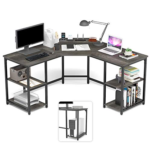 corner table for offices Elephance Large L-Shaped Computer Desk with Shelves, Corner Desk, Home Office Writing Workstation, Gaming Desk PC Latop Table with Storage