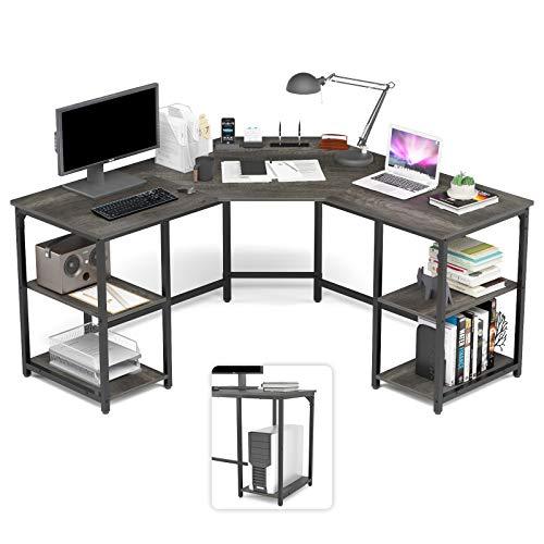Elephance Escritorio en forma de L con estantes, escritorio de esquina para computadora, estación de trabajo para escritura, escritorio para juegos de PC con almacenamiento (56.9 pulgadas, Boak)