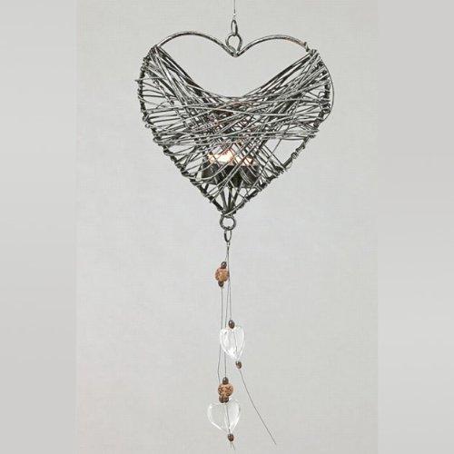 Teelichthänger décoration en forme de cœur sur pied