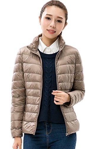 Bigood Femme Manteau Courte Hiver Jacket Doudoune Duvet Blouson Chaud Haute Qualité Parka Rembourré Marron XL