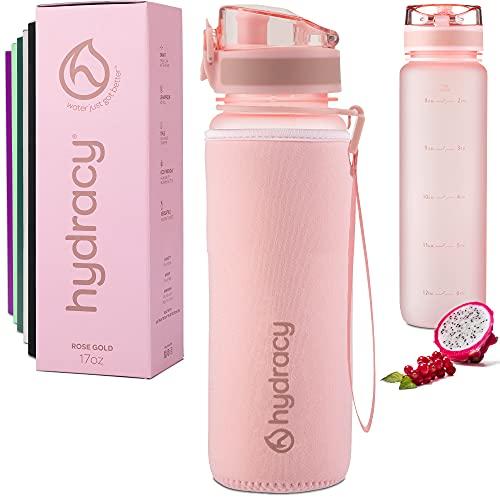 Hydracy Botella de Agua 500 ml con Marcador de Tiempo - Sin BPA con Filtro de Infusión de Frutas - Antigoteo y sin Sudor - Ideal para el Ejercicio y los Deportes al Aire Libre - Rosa Gold