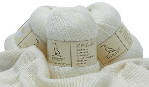 TEHETE Ovillo de lana, Hilados lana merino, 3 Bolas x 50g, Hilo para manta,suéter calcetín, bufanda, diy, ganchillo y tejido-Blanco