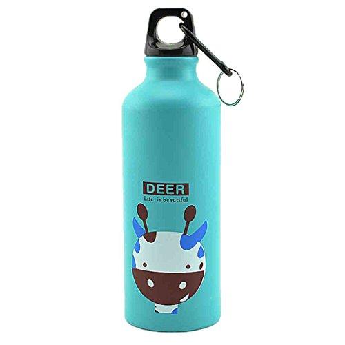 Zerama 500ml Animales encantadores al Aire Libre se Divierte la Botella portátil de aleación de Aluminio niños Botella de Agua de Dibujos Animados de Animales Patrón Caldera