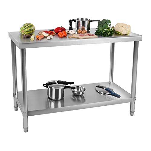 Royal Catering Table De Travail Cuisine Plan Professionnel Table Préparation Confection Boucher Avec Tablette Étagère RCWT-120X70E (120x70cm, Capacité 115 kg, 2 Niveaux, Pieds Réglables, Inox)