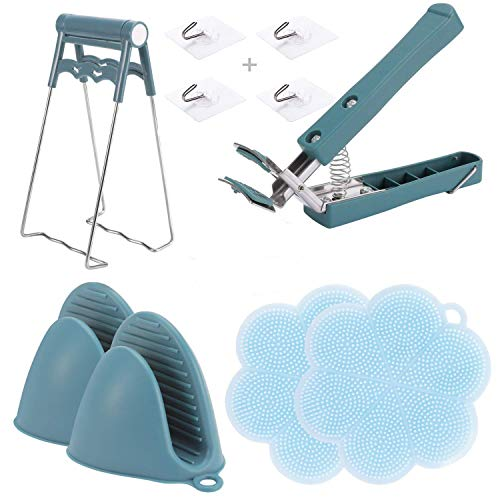 Kitchen Gadgets Best Sellers 2020,Kitchen Utensils Set,Finger Gloves, Hot Bowl Clamp,6 Pieces Plus 4 Non-Marking HooksFor Moving Hot Plate Or Bowls,