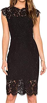Women s Sleeveless Floral Lace Slim Evening Cocktail Mini Dress for Party DM261  S Black …