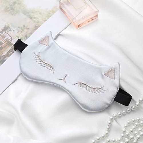 IYOU Máscara de seda para mujer, diseño de gato plateado satinado de seda para dormir, opaca, para ojos, sombra de ojos, máscara para meditación para dormir o dormir