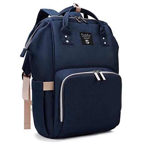 Pomelo Best Baby Wickelrucksack stylische Wickeltasche Rucksack mit Wickelunterlage multifunktional wasserabweisend Große Kapazität Rucksack für unterwegs (Marine blau)