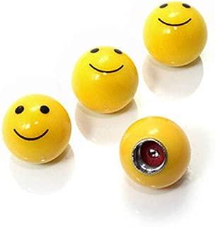 INCART Smiley Face Shaped Tire Valve Stem Caps, Universal (4pcs) Car Tire Valve Stem Air Caps Cover for Car Wheels