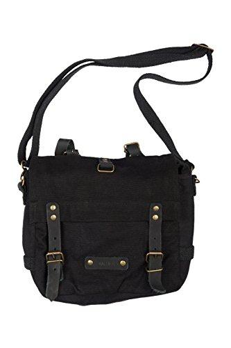 Halle 15 Clothes Gothic BW Kampftasche Schwarz klein Umhängetasche Canvas Bag mit Lederapplikationen