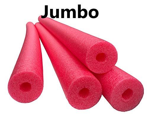Flex Connex 4 Pack Jumbo 60 Inch x 3.5 Inch Jumbo Swimming Pool Noodle Foam Multi-Purpose (Red)