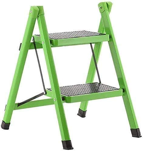 YZH Scale Portatili Leggere Sgabello da Esterno a Domicilio da Esterno, scaletta a scaletta per Adulti da Cucina in Ferro da Cucina con gradini Antiscivolo, Verde, 3 Livelli (Color : Green)